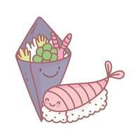 salade en sushi Japans menu restaurant eten schattig