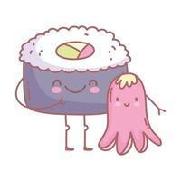sushi en octopus menu restaurant cartoon eten schattig