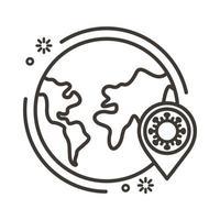 covid19-virusdeeltje met de lijnstijl van de planeet Aarde