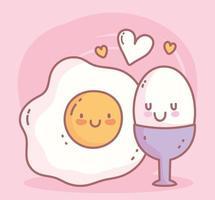 gekookte en gebakken eieren ontbijtmenu restaurant eten schattig