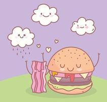 hamburger en spek restaurant menu eten schattig vector
