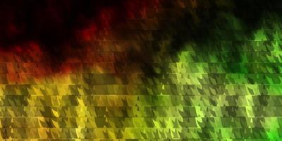 lichtgroen, geel vectorpatroon met lijnen, driehoeken.