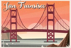 Golden gate bridge van San Fransisco Postcard vector