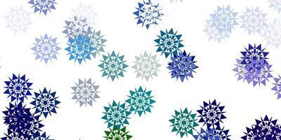 licht veelkleurige vector achtergrond met Kerstmissneeuwvlokken.