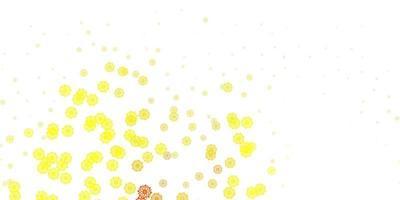 lichtrode, gele vectorachtergrond met Kerstmissneeuwvlokken.
