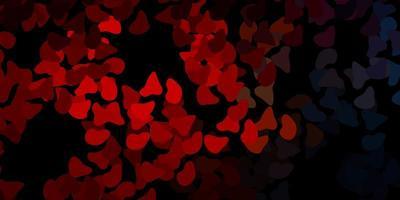 donkerblauw, rood vectormalplaatje met abstracte vormen.