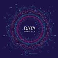 Grafische data-visualisatie. Analyse van big data-analyse met lijnen, stippen en pijlelementen