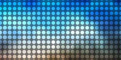 lichtblauwe, gele vectorachtergrond met cirkels.