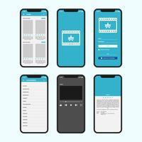 Online film mobiele app Gui-schermen vector