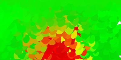 lichtgroene, rode vectorachtergrond met willekeurige vormen.