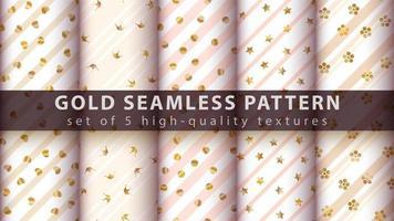 gouden schattig glitter naadloze patroon set