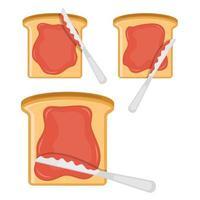geroosterd sneetje brood met jam op de hoogste vectorontwerpillustratie die op witte achtergrond wordt geïsoleerd