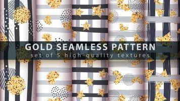 gouden moderne glitter naadloze patroon set