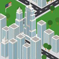 New York City isometrische rijk staat gebouw vector