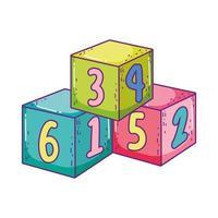 speelgoed stapel kubus blokken bouwen cartoon vector