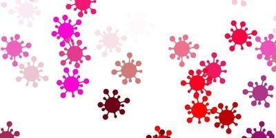 lichtroze vectorachtergrond met virussymbolen.