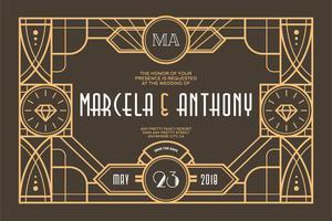 Art Deco bruiloft vector