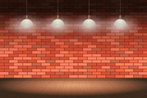 bakstenen muur en houten vloer achtergrond vectorillustratie ontwerp vector