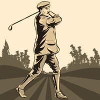 Golf speler in actie illustratie