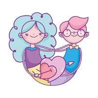 gelukkige Valentijnsdag, schattig paar met hartjes met pijl liefde viering