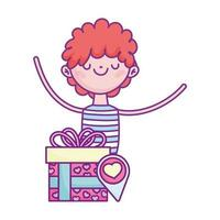gelukkige Valentijnsdag, verliefd jonge man met geschenkdoos