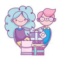 gelukkige Valentijnsdag, leuk stel met geschenken harten liefde viering
