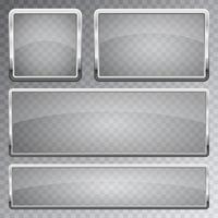 transaprent glazen banner met metalen frame vector ontwerp illustratie geïsoleerd op de achtergrond