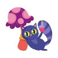 wonderland, kat met elixerfles paddestoel gebladerte cartoon vector
