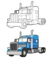 vrachtwagen cartoon gemakkelijk kleurplaat voor kinderen vector