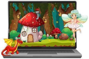 sprookjesachtige scène op laptopscherm vector