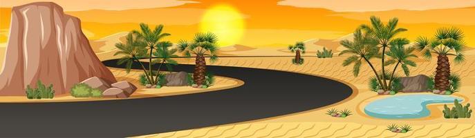 woestijnoase met het landschapsscène van de palmennatuur vector