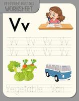 alfabet overtrekken werkblad met letter v en v vector
