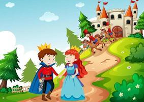 scène met prins en prinses in het kasteel
