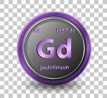 gadolinium scheikundig element. chemisch symbool met atoomnummer en atoommassa.