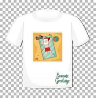 Kerstman stripfiguur in kerst zomer thema op t-shirt op transparante achtergrond vector