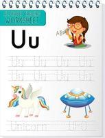 alfabet overtrekken werkblad met letter u en u