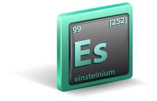 einsteinium scheikundig element. chemisch symbool met atoomnummer en atoommassa.