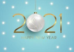 elegante gelukkig nieuwjaar achtergrond met hangende kerstbal en gouden letters vector