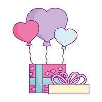 gelukkige Valentijnsdag, geschenkdoos met ballonnen en liefde vector