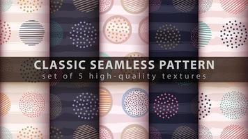 set van moderne naadloze patroon achtergrond met abstracte ronde vormen