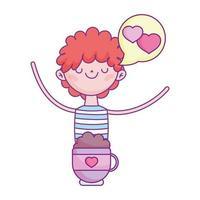 gelukkige Valentijnsdag, jongen met chocoladekop harten liefde