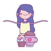 gelukkige Valentijnsdag, schattig meisje met cupcake en chocolade cup harten liefde