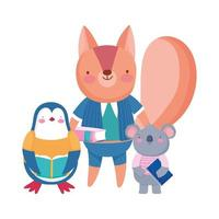 terug naar school, beer eekhoorn pinguïn koala met boekentas buitenshuis