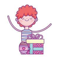 gelukkige Valentijnsdag, jonge man met cadeau en koffiekopje