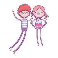 gelukkige Valentijnsdag, jongen met cupido hart liefde cartoon te houden