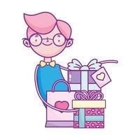 gelukkige Valentijnsdag, jongen met geschenken en boodschappentasviering