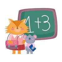 terug naar school, vos en koala met schoolbord met boekentas