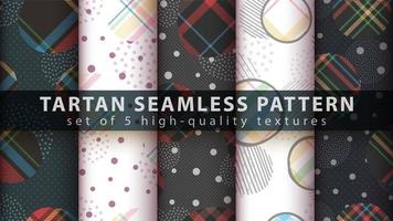 set geometrische vormen met tartan naadloze patroon achtergrond