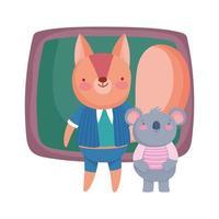 terug naar school, cartoon van het schoolbordstudenten van de eekhoornkoala