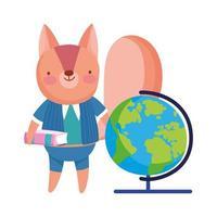 terug naar school, eekhoorn met boek wereldbol kaart cartoon